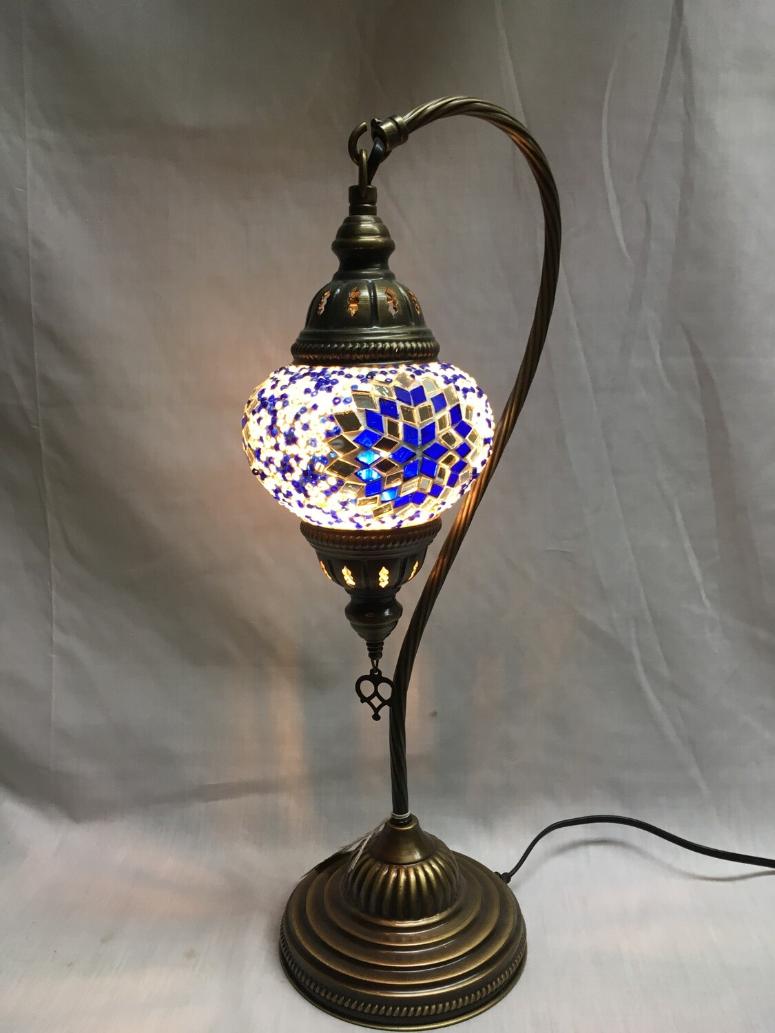 Mosaic Glass Table Lamp, Blue and White Pinwheel