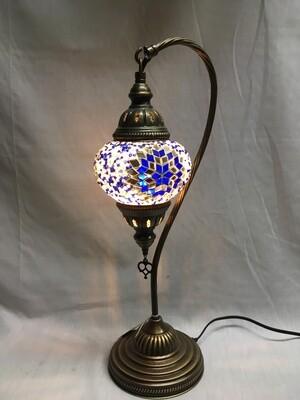 Mosaic Glass Table Lamp, Blue and White Pinwheel