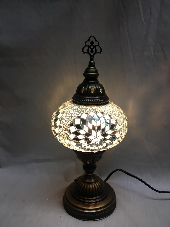 Mosaic Glass Table Lamp - Large, White Pinwheel