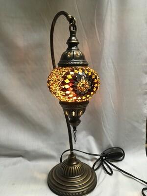 Mosaic Glass Table Lamp, Rust/Brown Circular Design