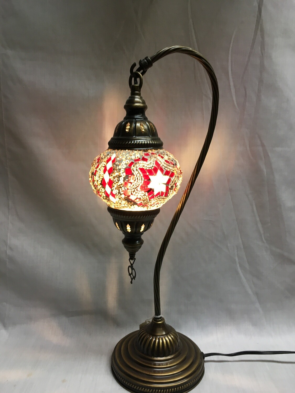Mosaic Glass Table Lamp, White and Red Pinwheel