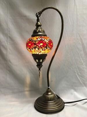 Mosaic Glass Table Lamp, Orange Diamonds