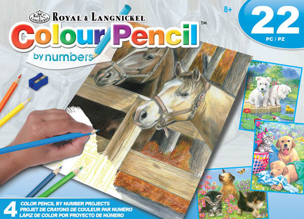 Horse and Puppy Artist Pack - Colour Pencil by Number