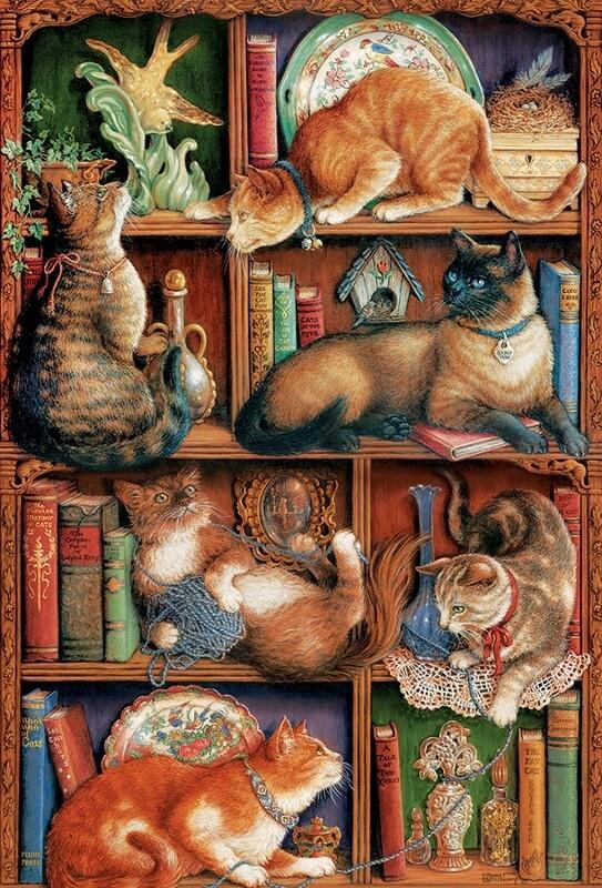 Feline Bookcase - 2000 Piece Cobble Hill Puzzle