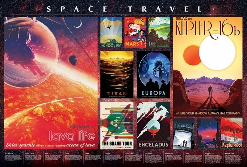 Space Travel Posters - 2000 Piece Cobble Hill Puzzle