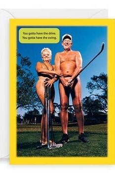 Birthday - Nude Couple with Golf Clubs