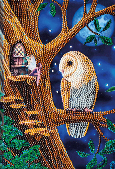 Crystal Art Notebook Kit - Owl and Fairy Tree - Craft Kit