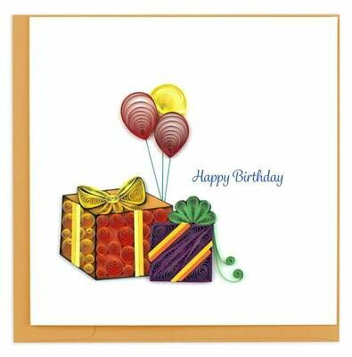 Quilling Card - Birthday Gifts and Balloons - handcrafted - Blank inside