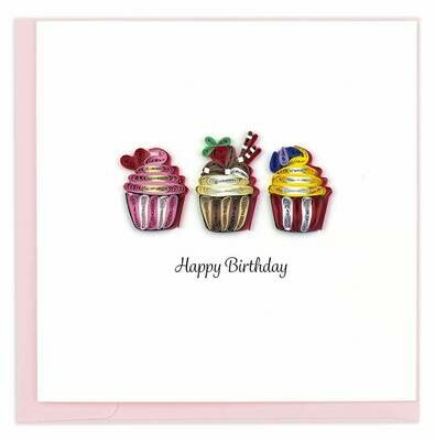 Quilling Card - Birthday Cupcakes - handcrafted - Blank inside