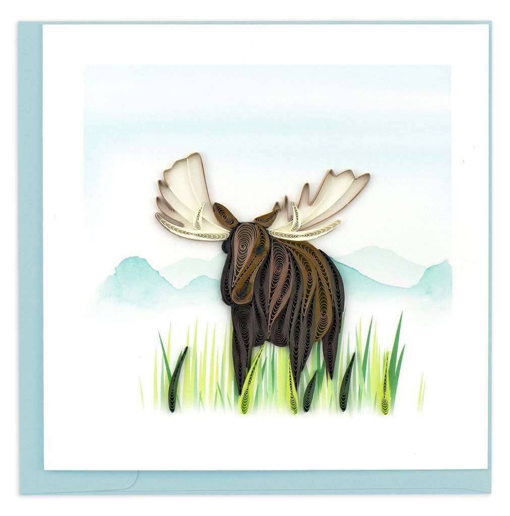 Quilling Card - Moose - handcrafted - Blank inside