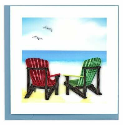Quilling Card - Adirondack Chairs - handcrafted - Blank inside
