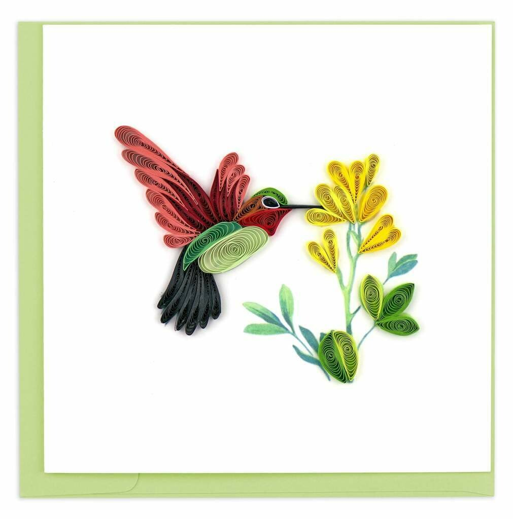Quilling Card - Hummingbird - handcrafted - Blank inside