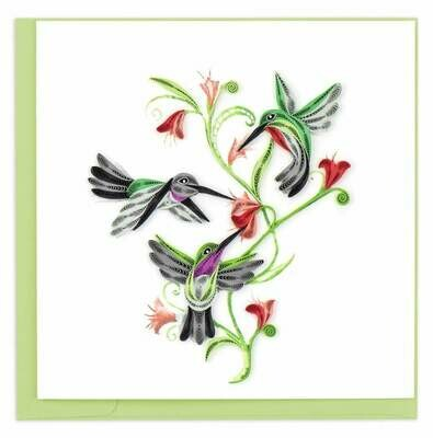 Quilling Card - Hummingbird Trio - handcrafted - Blank inside