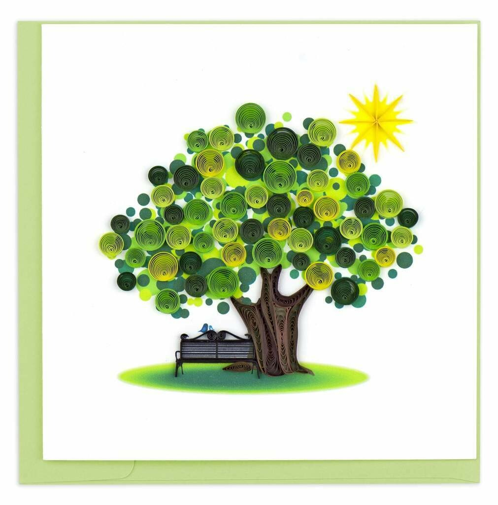 Quilling Card - Summer Tree - handcrafted - Blank inside