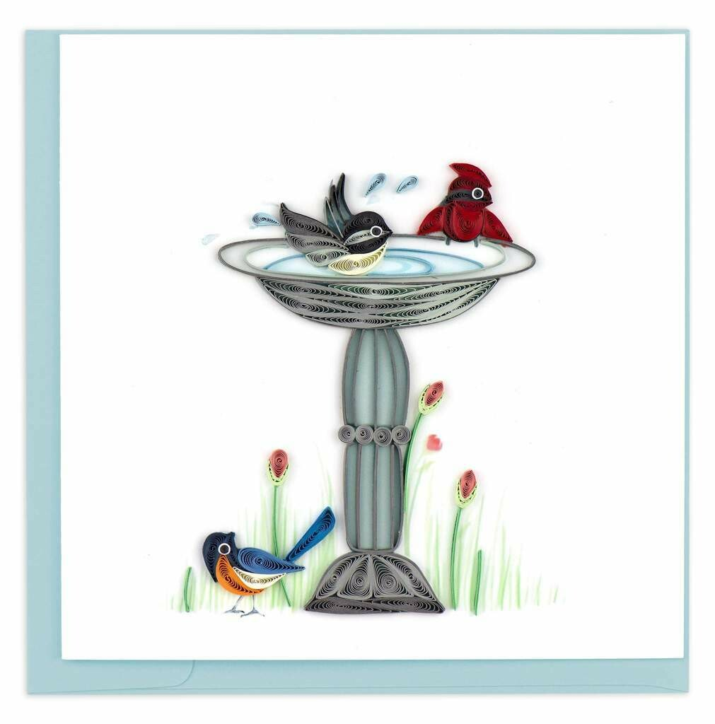 Quilling Card - Bird Bath - handcrafted - Blank inside