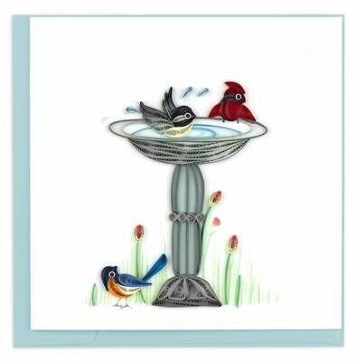 Quilling Card - Bird Bath - handcrafted - Blank inside