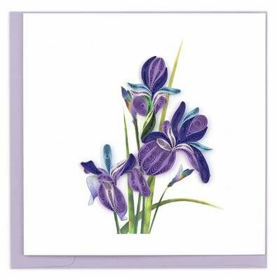 Quilling Card - Iris - handcrafted - Blank inside