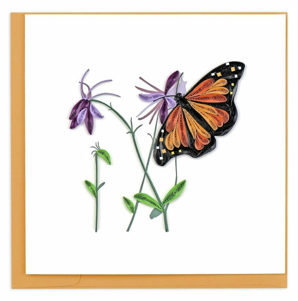 Quilling Card - Monarch Butterfly - handcrafted - Blank inside