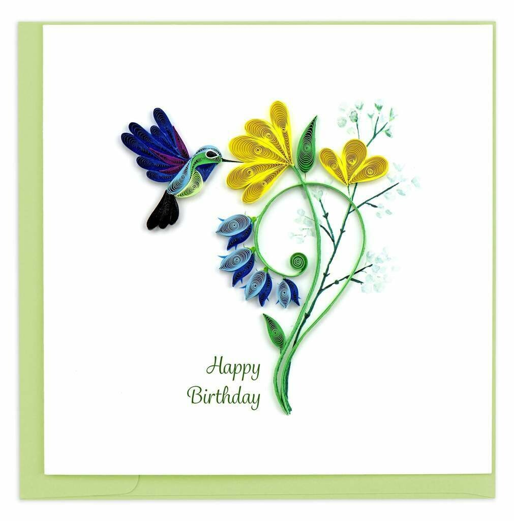 Quilling Card - Birthday Hummingbird - handcrafted - Blank inside