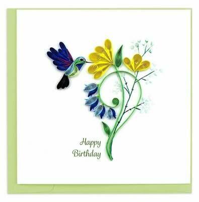 Quilling Card - Birthday Hummingbird - handcrafted - Blank inside
