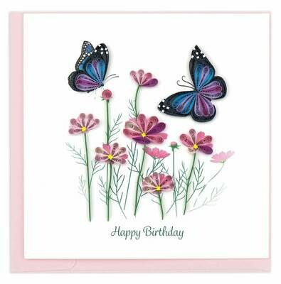 Quilling Card - Birthday Flowers & Butterflies - handcrafted - Blank inside