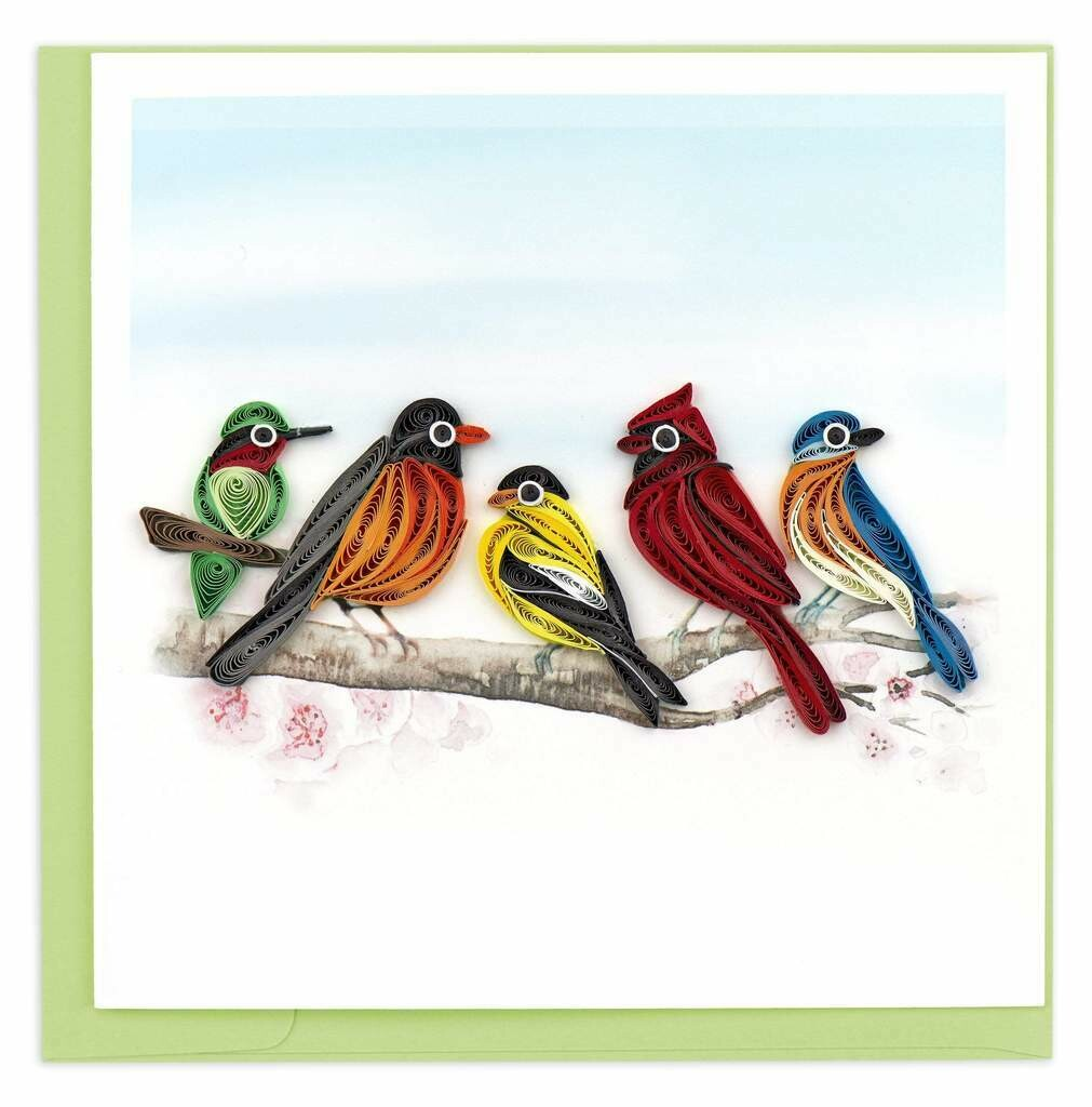 Quilling Card - Songbirds - handcrafted - Blank inside