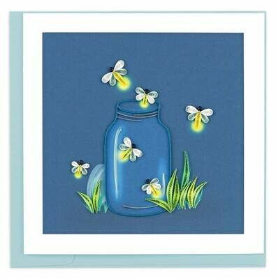 Quilling Card - Fireflies - handcrafted - Blank inside