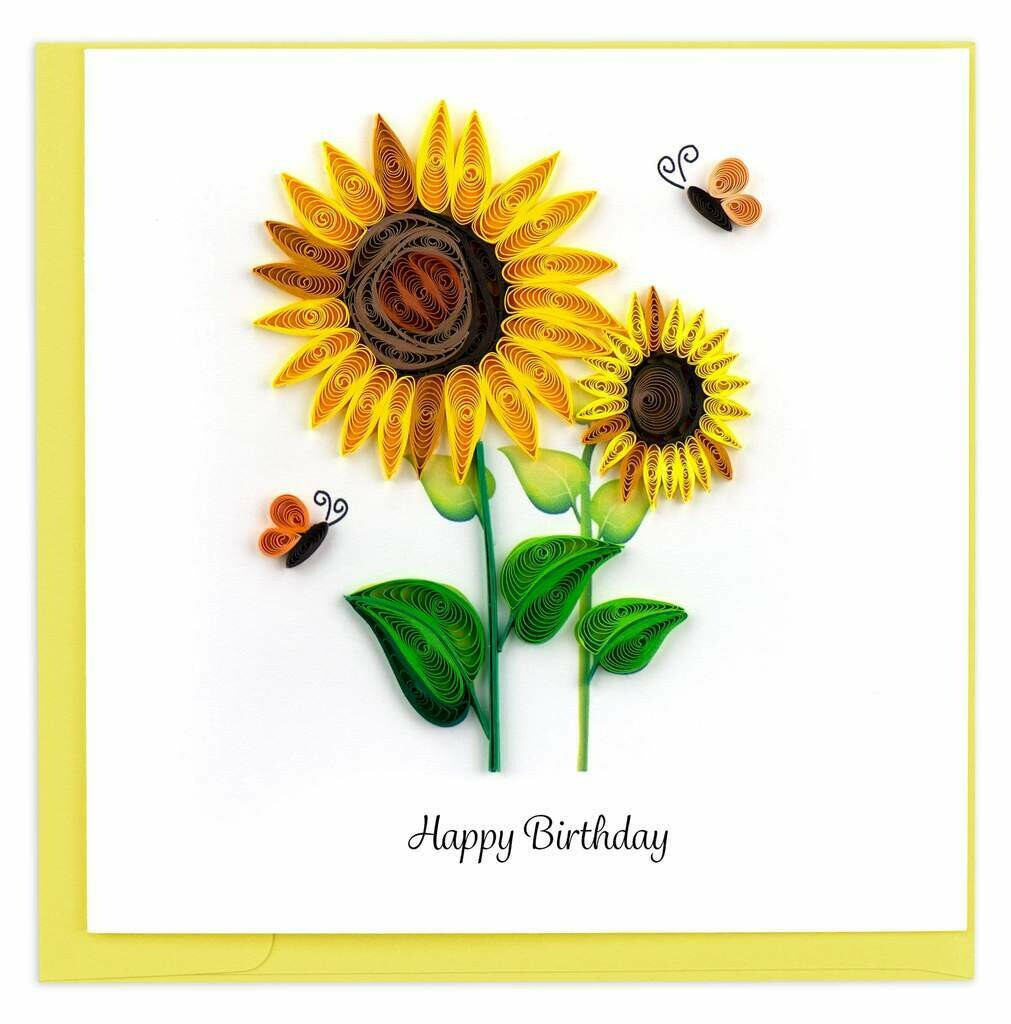 Quilling Card - Sunflowers - handcrafted - Blank inside