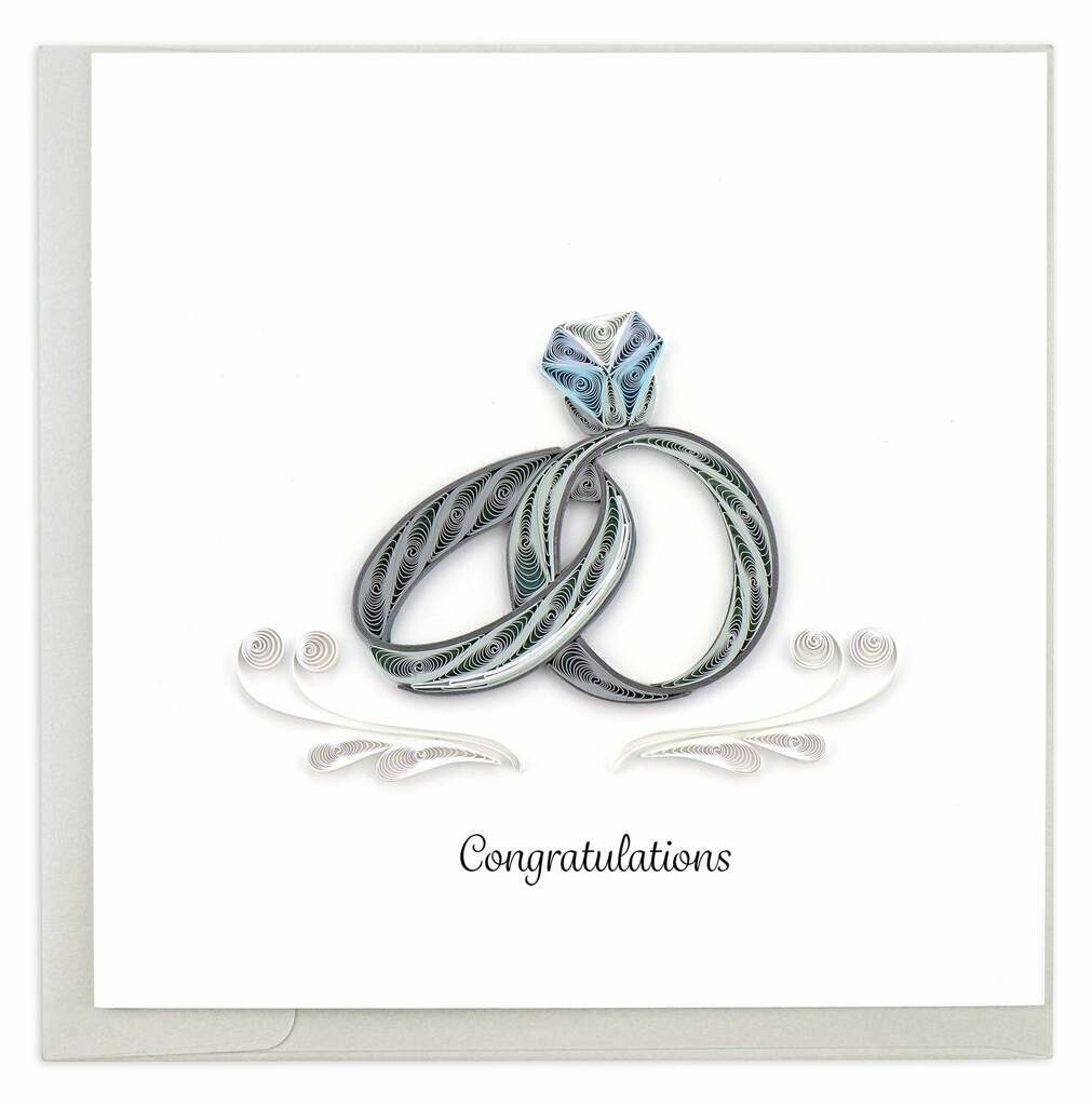 Quilling Card - Wedding Rings - handcrafted - Blank inside