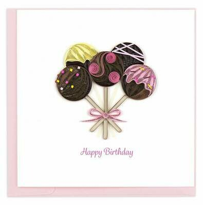 Quilling Card - Birthday Cake Pops - handcrafted - Blank inside