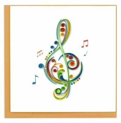 Quilling Card - Treble Clef - handcrafted - Blank inside