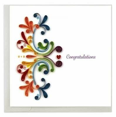 Quilling Card - Rainbow Swirl Congrats - handcrafted - Blank inside