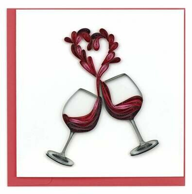 Quilling Card - A Toast to Love - handcrafted - Blank inside