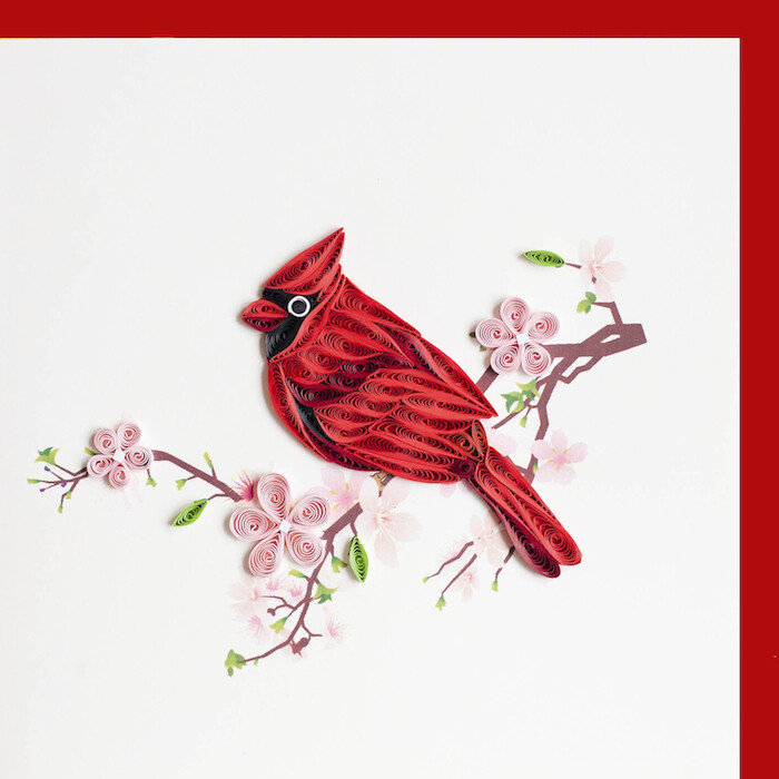 Quilling Card - Cardinal - handcrafted - Blank inside