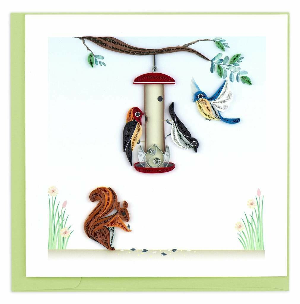 Quilling Card - Bird Feeder - handcrafted - Blank inside