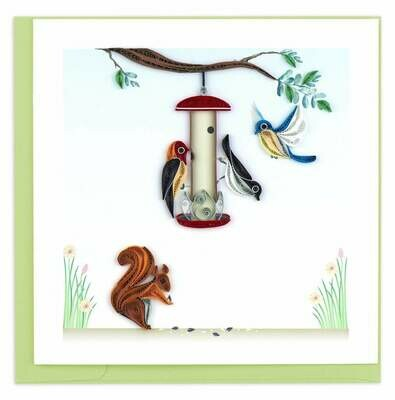 Quilling Card - Bird Feeder - handcrafted - Blank inside