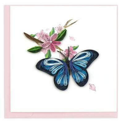 Quilling Card - Blue Butterfly - handcrafted - Blank inside