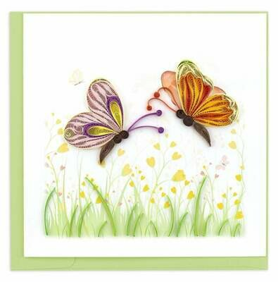 Quilling Card - Two Butterflies - handcrafted - Blank inside