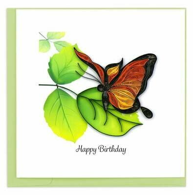 Quilling Card - Birthday Butterfly - handcrafted - Blank inside