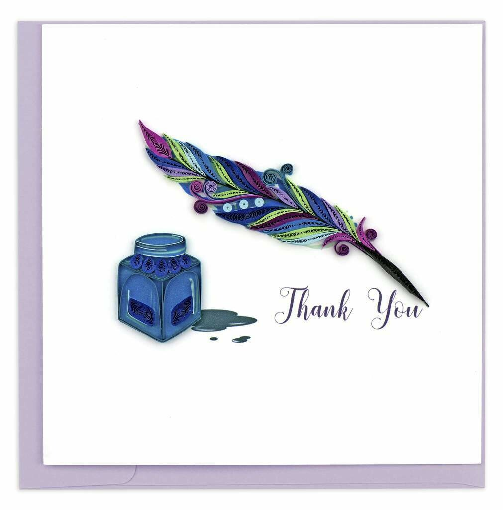 Quilling Card - Thank You Quill and Ink - handcrafted - Blank inside