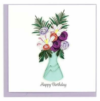 Quilling Card - Birthday Flower Vase - handcrafted - Blank inside