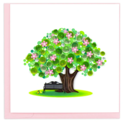 Quilling Card - Spring Tree - handcrafted - Blank inside