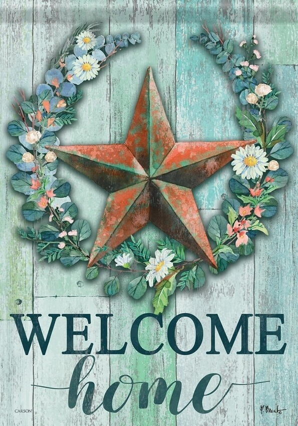 "Abloom Barnstar - ""Welcome Home"" with Wreath - Garden Flag - 12.5 "" x 18"""