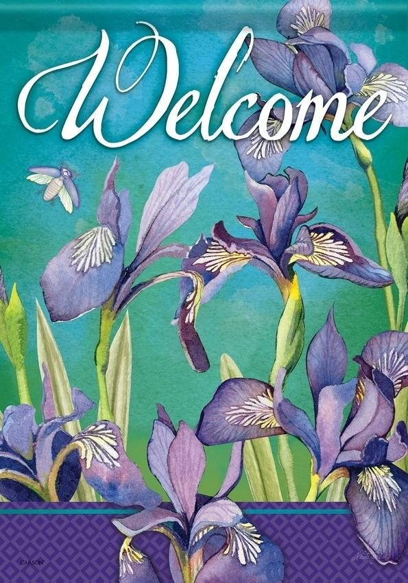"""Irises in Bloom - """"Welcome"""" - Garden Flag - 12.5 """" x 18"""""""