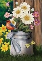 """Spring Jubilee - Flowers in Watering Can with Bird - Garden Flag - Spring - 12.5 """" x 18"""""""