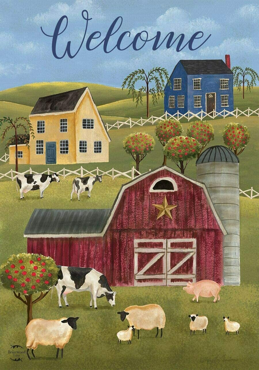 """Spring Countryside - """"Welcome"""" - Folk Art - Garden Flag - 12.5 """" x 18"""""""