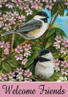 Chickadees and Blossoms -