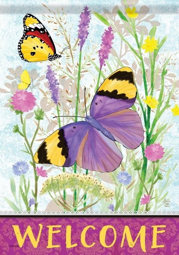 """Wildflower Flutter - """"Welcome"""" - with Butterflies - Garden Flag - 12.5 """" x 18"""""""