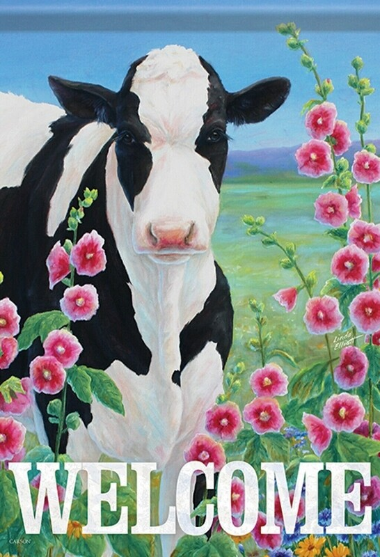 "Holstein in Hollyhocks - Cow - ""Welcome"" - Garden Flag - 12.5 "" x 18"""