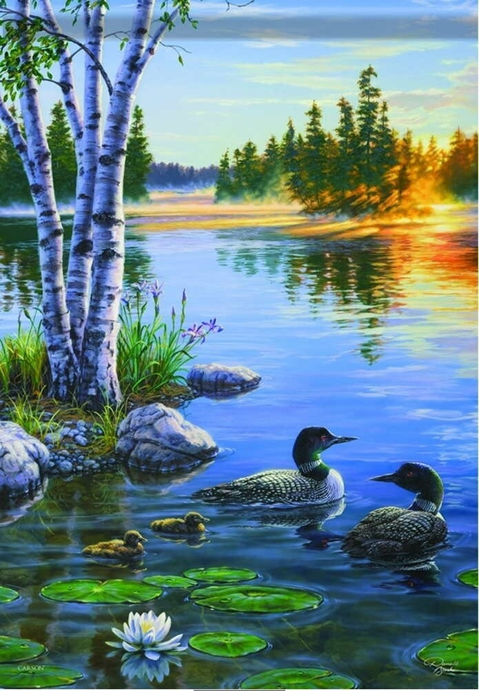 "Morning on the Lake - Loons - Garden Flag - 12.5 "" x 18"""